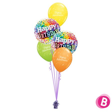 Bouquet déco Happy Birthday Multicolore