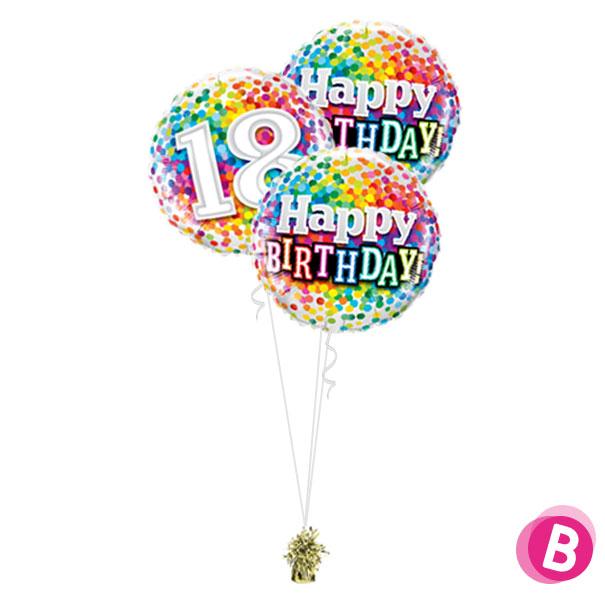 Ballons anniversaire 18 Multicolore Trio