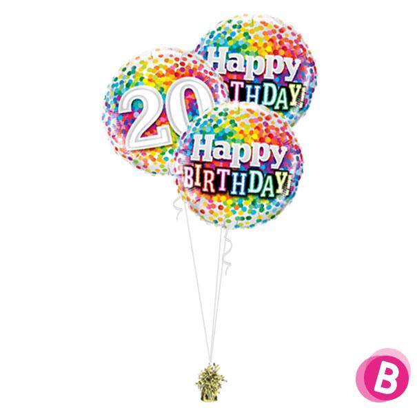 Ballons anniversaire 20 Multicolore Trio