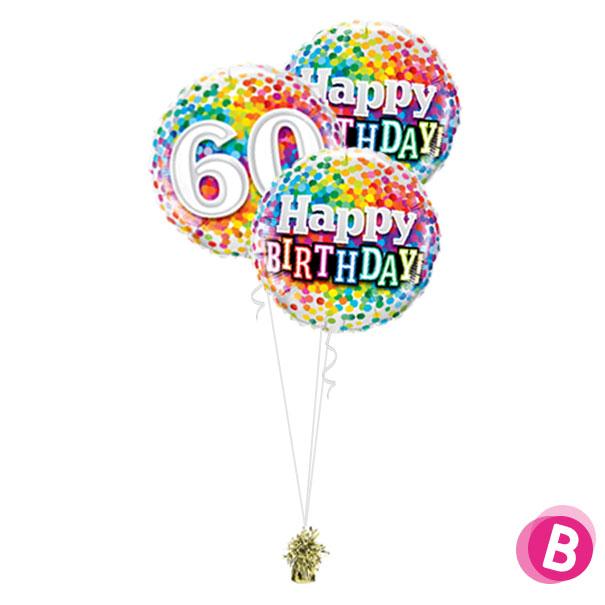 Ballons anniversaire 60 Multicolore Trio