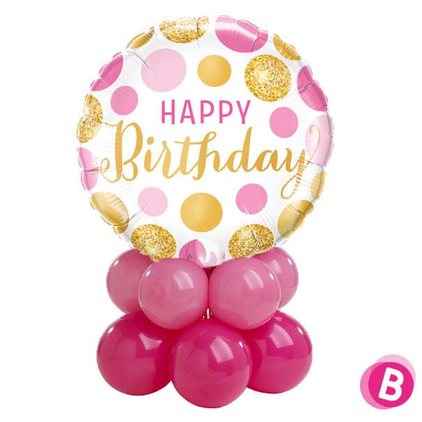 """Ballon Anniversaire Décor de table """"Happy Birthday"""" Pois Rose et Or"""