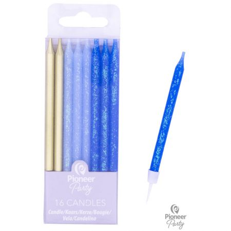 16 Bougies Bleues et Or