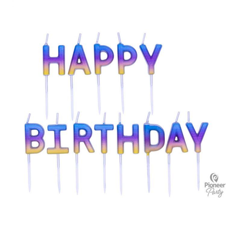 """Bougies """"Happy Birthday"""" Arc-en-ciel"""