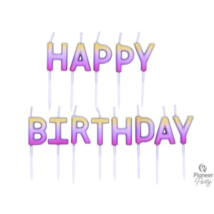 "Bougies ""Happy Birthday"" Rose Gold"