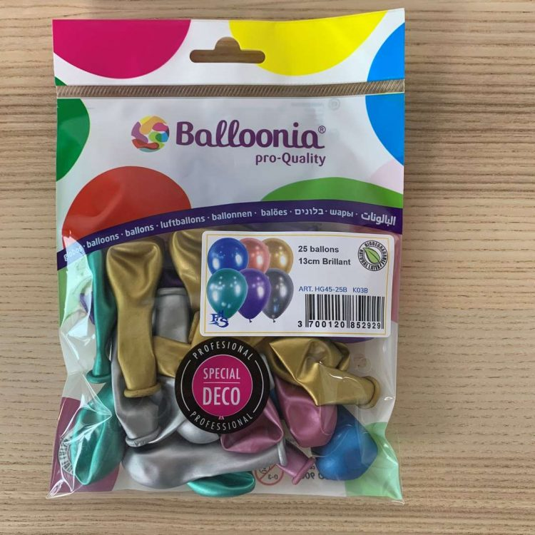 Pochette 25 ballons Brillant Assortis 13cm