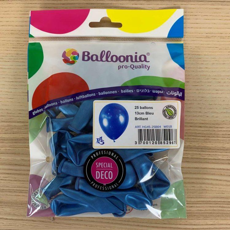 Pochette 25 ballons Bleu Brillant 13cm