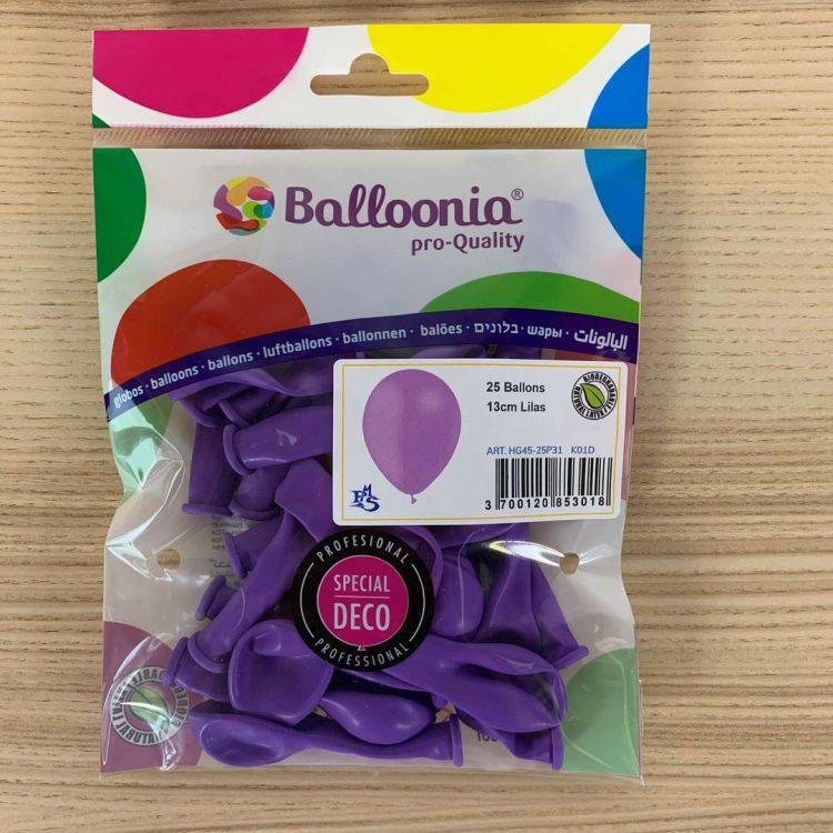 Pochette 25 ballons Lilas 13cm