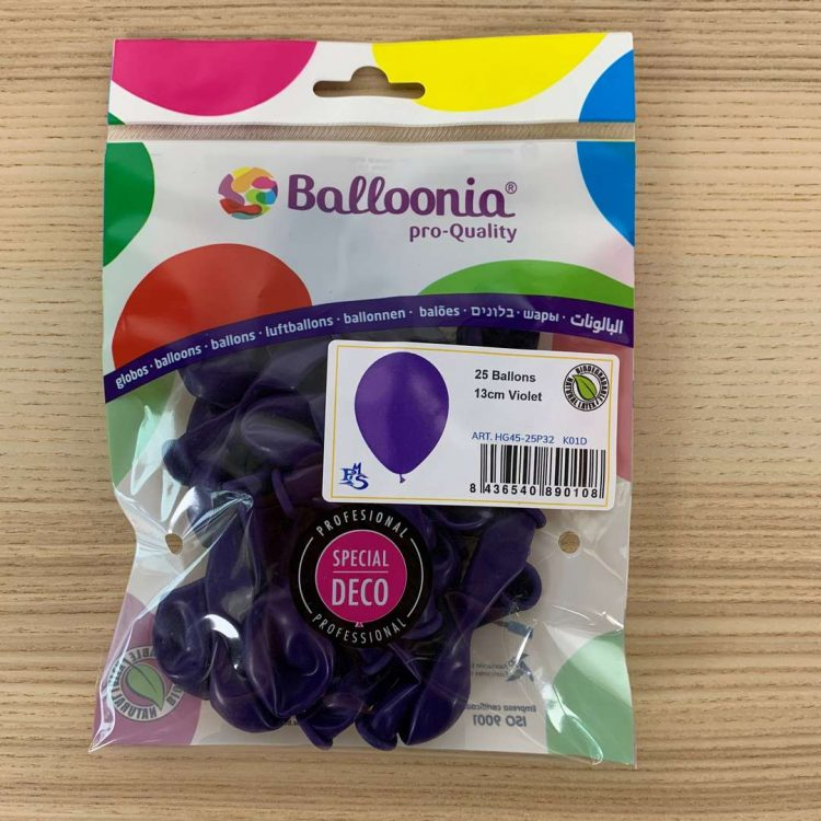 Pochette 25 ballons Violet 13cm