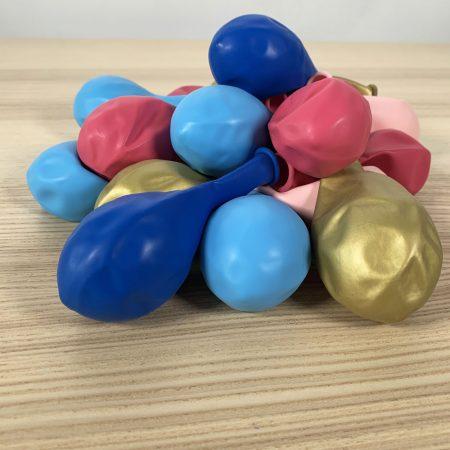 pochette 20 ballons 30cm bleu rose or