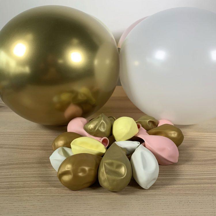 ballons 30cm jaune, blanc rose et or gonflés
