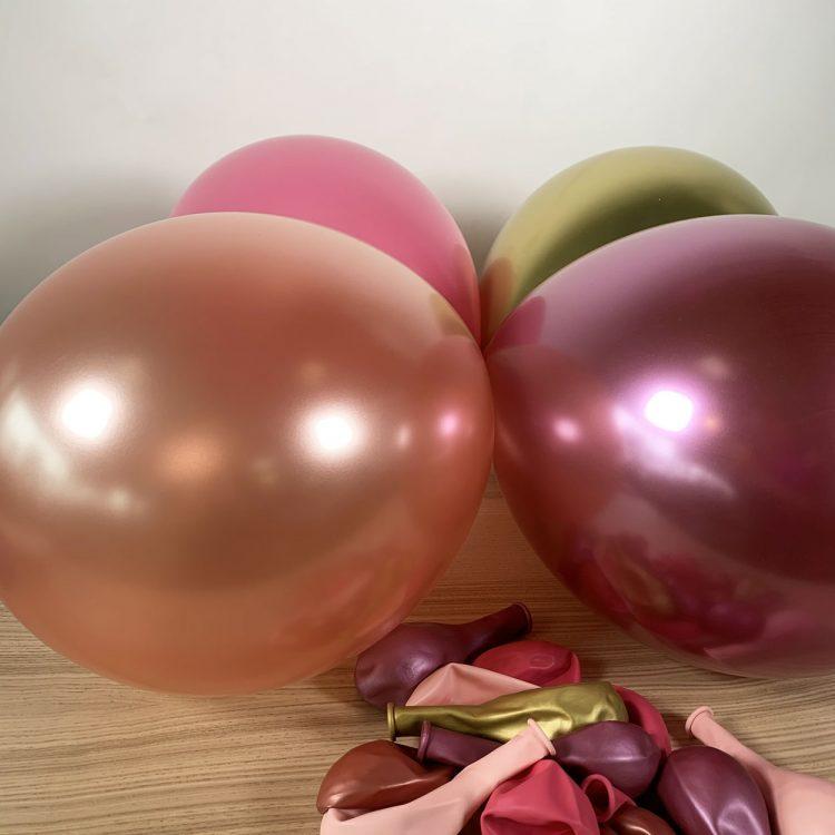 ballons gonflés rose et or 30cm