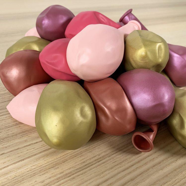 pochette 20 ballons 30cm rose et or