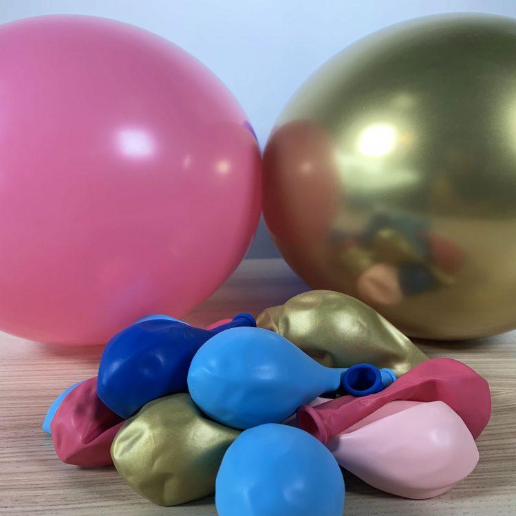 ballons 30cm bleu rose or gonflés