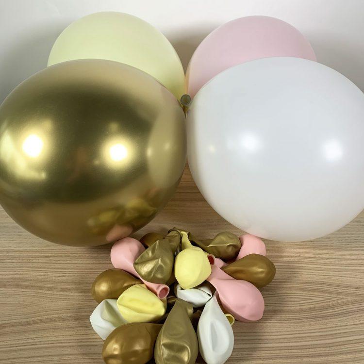 ballons 30cm jaune, blanc, rose et or gonflés