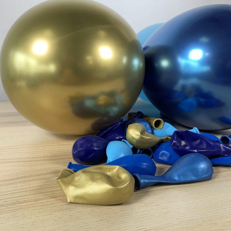 20 ballons 30cm nuances de bleu et or