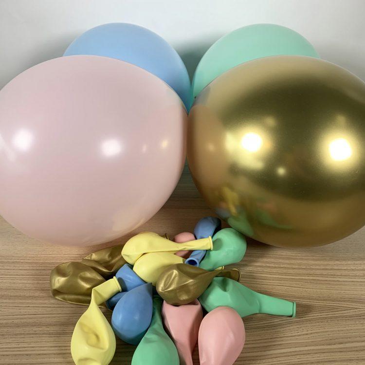 20 ballons eclat pastel et or gonflés