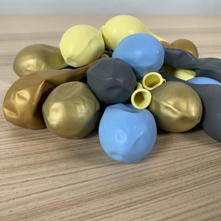 20 ballons Bleu Jaune Or Gris