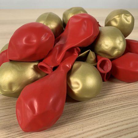 Pochette 20 ballons 30cm Rouge et Or
