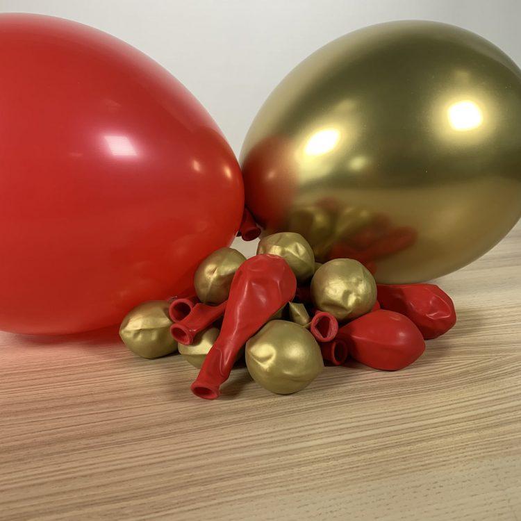 20 ballons 30cm rouge et or gonflés