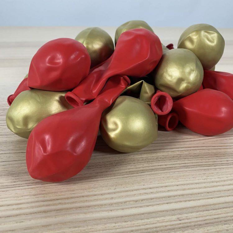 20 ballons rouge et or 30cm