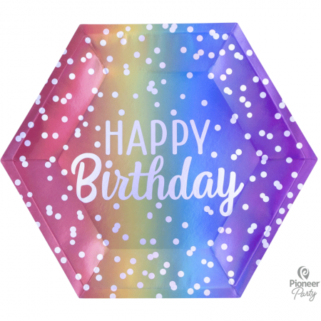 8 Assiettes en carton Hexagonales Arc-en-ciel Happy Birthday