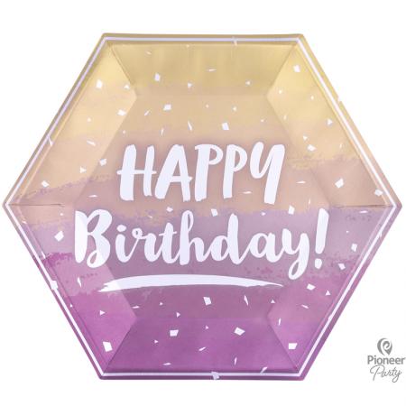 8 Assiettes en carton hexagonales Rose Gold Happy Birthday