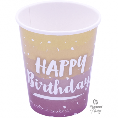 8 Verres en carton Rose Gold Happy Birthday