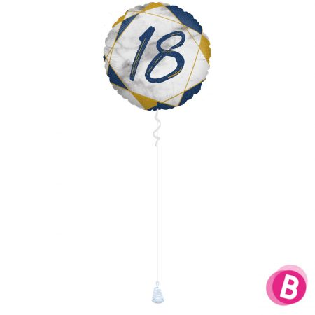 Ballon Anniversaire 18 Bleu et Or