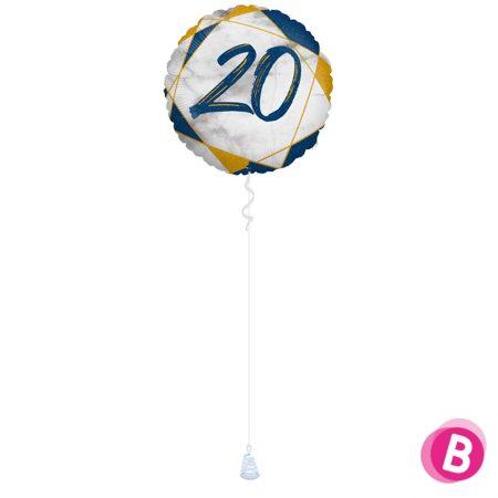 Ballon Anniversaire 20 Bleu et Or