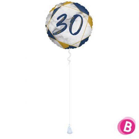 Ballon Anniversaire 30 Bleu et Or