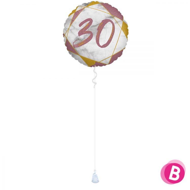Ballon Anniversaire 30 Rose et Or