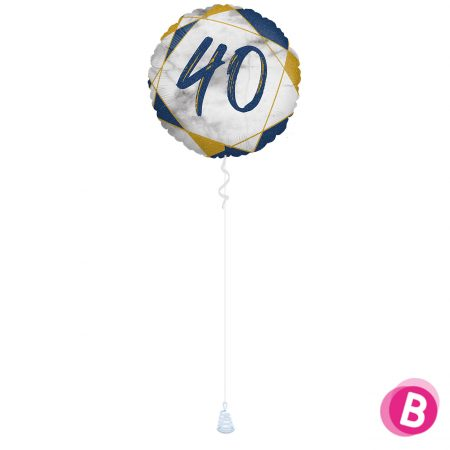 Ballon Anniversaire 40 Bleu et Or