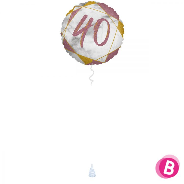 Ballon Anniversaire 40 Rose et Or