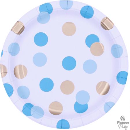 8 Assiettes en carton Confettis Bleu et or