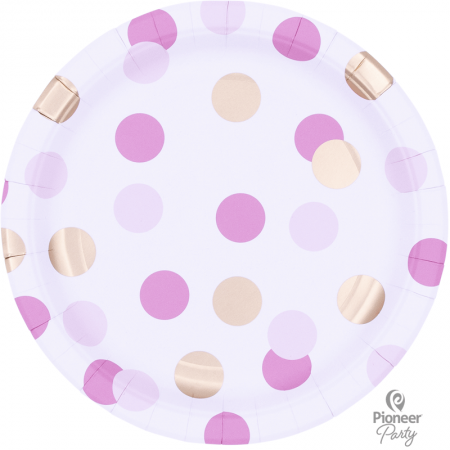 8 Assiettes en carton Confettis Rose et Or
