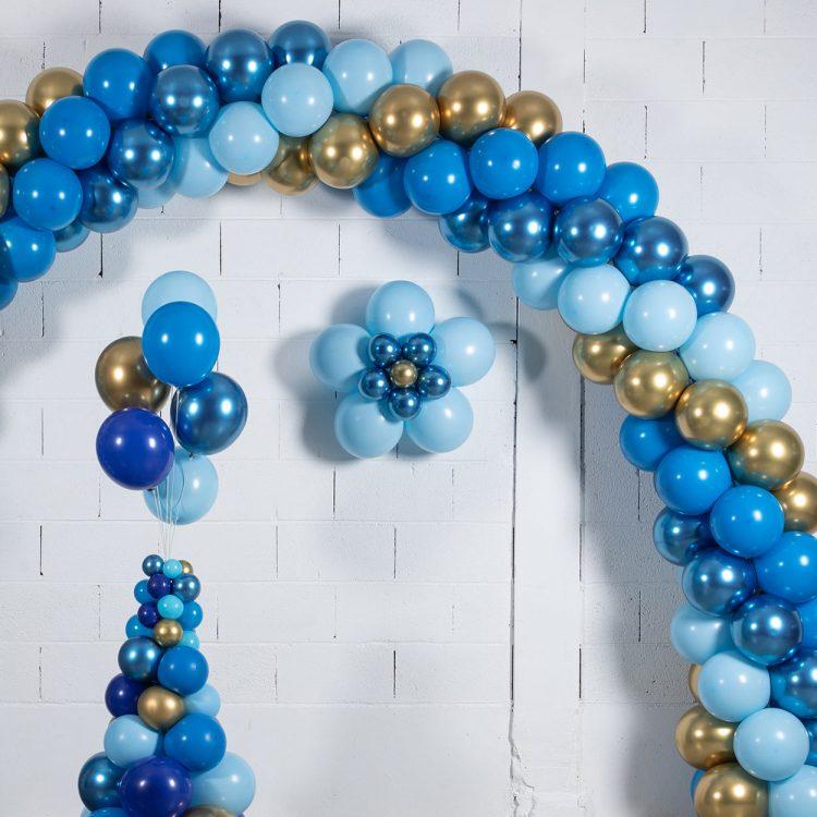 kit 3 fleurs en ballons déco bleu
