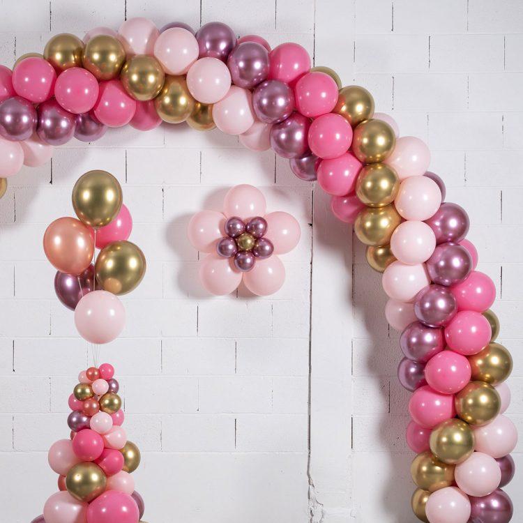 kit 3 fleurs en ballons déco rose