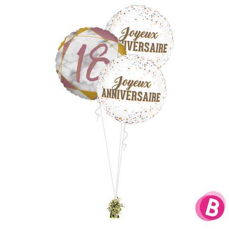 Ballons anniversaire 18 Trio Rose et Or