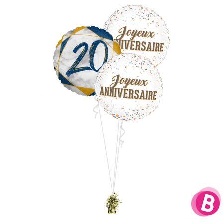Ballons anniversaire 20 Trio Bleu et Or