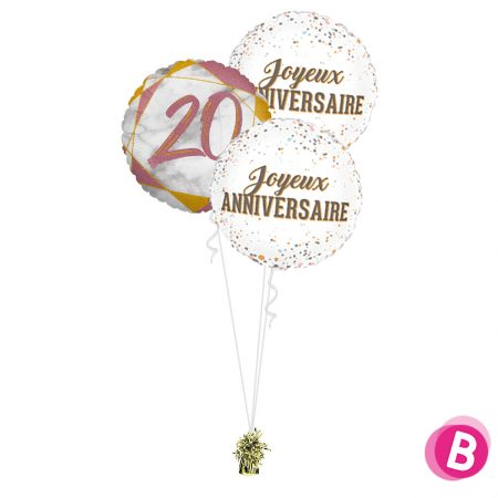 Ballons anniversaire 20 Trio Rose et Or