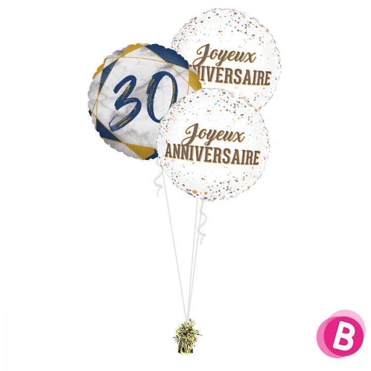 Ballons anniversaire 30 Trio Bleu et Or