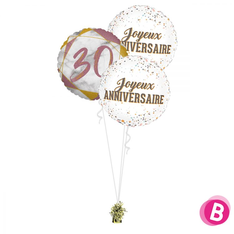 Ballons anniversaire 30 Trio Rose et Or
