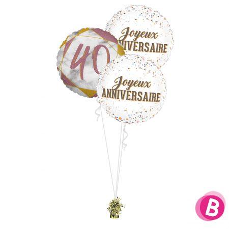 Ballons anniversaire 40 Trio Rose et Or