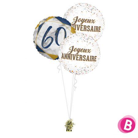 Ballons anniversaire 60 Trio Bleu et Or