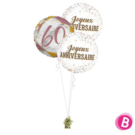 Ballons anniversaire 60 Trio Rose et Or