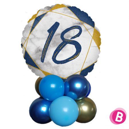 Ballon Anniversaire Décor de table 18 Bleu et Or