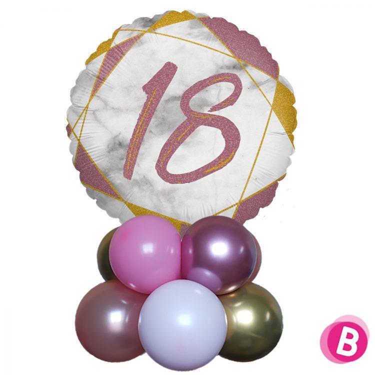 Ballon Anniversaire Décor de table 18 Rose et Or