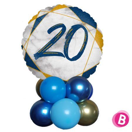 Ballon Anniversaire Décor de table 20 Bleu et Or