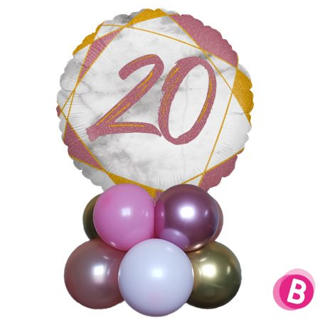 Ballon Anniversaire Décor de table 20 Rose et Or