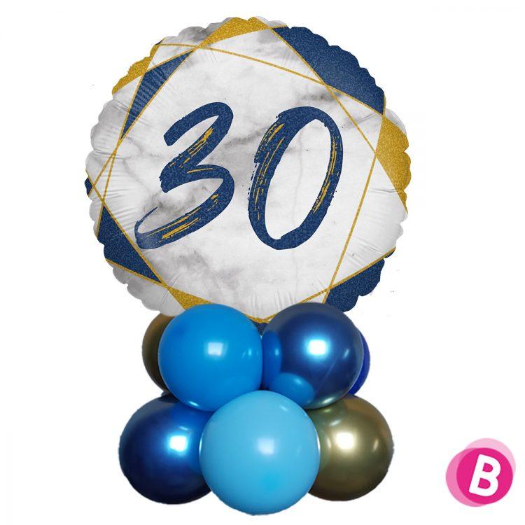 Ballon Anniversaire Décor de table 30 Bleu et Or